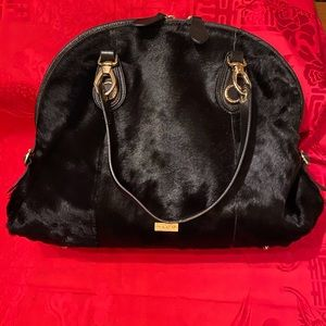 Pulicati black leather/fur large shoulder bag EUC